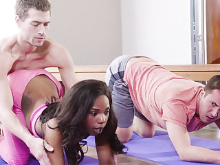 Yoga Teacher Fucked Ebony Girl in Threesome