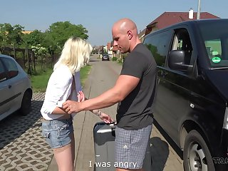 Tyna gets her penurious drenched pussy penetrated in the back of his motor