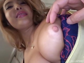 Blonde Asian MILF solo carve strips and masturbates with toys