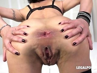 Horny windy Lyna Cypher predominated with dual plumb and didlo porn video