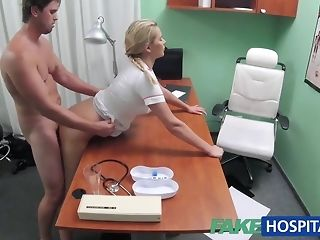 Blondie nurse helps boy get an agile salute with her mitts free porn
