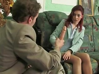 Young guy makes redhead milf Afina to suck big dildo dick