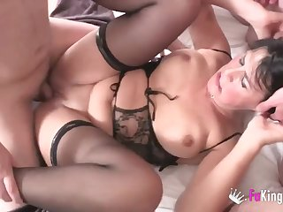 Short haired milf in stockings gets ganged with an increment of banged by four guys