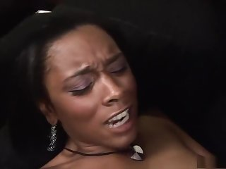 Juicy black Porche Carrera got a spermshot on her face